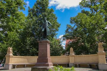 Fontanestadt Neuruppin, Mark Brandenburg, statue of Karl-Friedrich Schinkel, Germany, Ramblings through Brandenburg