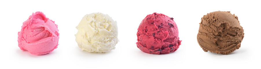 set of colorful ice cream on a white background Wall mural
