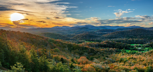 Autumn Sunset at Flat Rock on the Blue Ridge Parkway - North Carolina