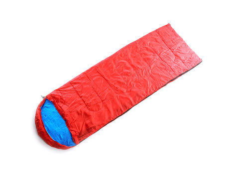 Sleeping bag on white background. Camping equipment