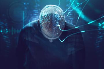 Künstliche Intelligenz - Gehirn ist an Kabel angeschlossen