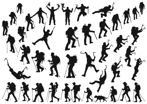 mountaineer climber hiker people, vector silhouette collection