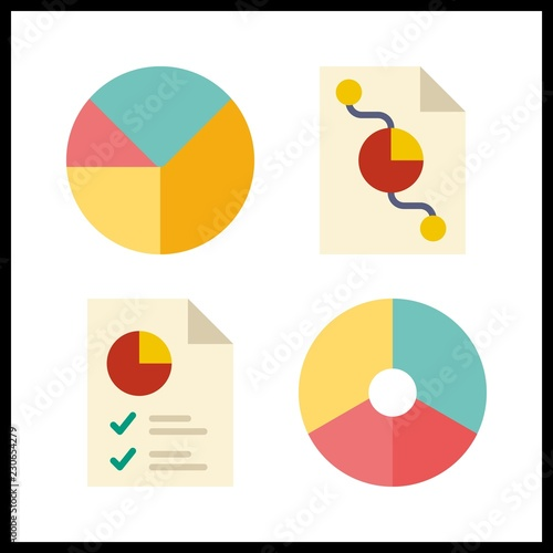 4 Budget Icon Vector Illustration Budget Set Pie Chart Icons For