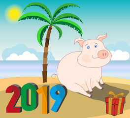 A pig - symbol of the Chinese new 2019 - sitting on the sea beach with palm trees. Vector illustration.