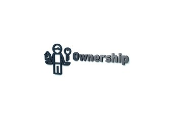 Text Ownership with blue 3D illustration and light background