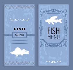 Elegant Vintage Vector Seafood or Fish Menu Idea