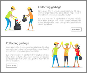 Collecting Garbage Web Set Vector Illustration