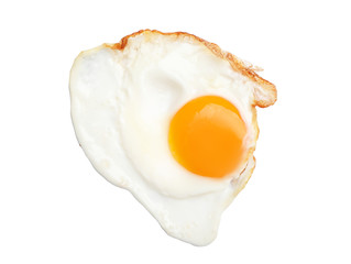 Fried sunny side up egg on white background, top view