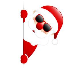 Dark Red Santa Sunglasses Banner Diagonal