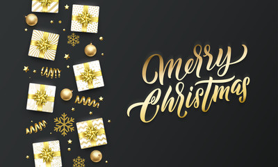 Merry Christmas golden greeting card on premium black background. Vector Christmas calligraphy lettering, gifts, snowflakes and gold glitter stars