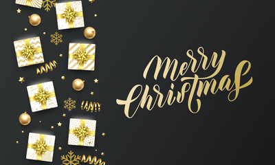 Merry Christmas golden lettering text, black background. Vector Christmas greeting card calligraphy, gifts, snowflakes and gold glitter stars