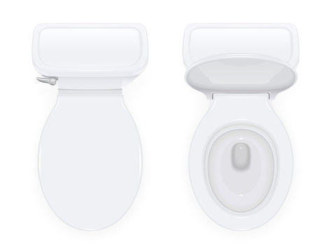 Toilet bowl with open and closed cover for water closet. Top