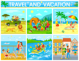 Travel and Vacation Colorful Vector Illustration