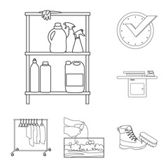 Vector design of laundry and clean logo. Collection of laundry and clothes stock vector illustration.