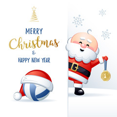 Merry Christmas and Happy New Year. Sports greeting card. Cute Santa Claus with Volleyball ball and Gold medal. Vector illustration.