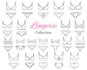 Fashionable female lingerie collection, vector sketch illustration.