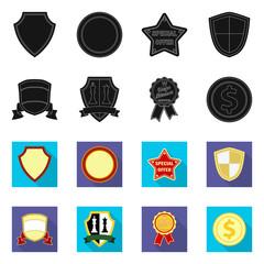Vector illustration of emblem and badge sign. Collection of emblem and sticker stock vector illustration.