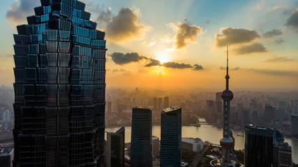 Aluminium Prints Shanghai Sunset of Shanghai Skyline and Silhouette Of Modern Megalopolis.
