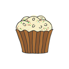 Hand drawn colorful cupcake on white background.