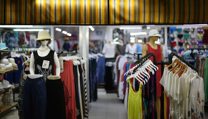 fashion store at night in blur background