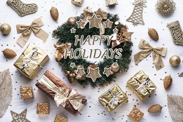Beautiful celebratory Christmas background. New Year's holidays. Christmas holidays. Beautiful Christmas decorations on the wooden background. Loft style. Mockup