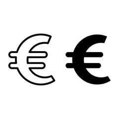 Euro sign line and glyph icon. Currency vector illustration isolated on white. Money outline style design, designed for web and app. Eps 10.