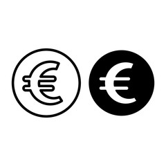 Euro sign in circle line and glyph icon. Euro coin y vector illustration isolated on white. Money outline style design, designed for web and app. Eps 10.