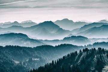 autumnal atmosphere on the ridge of the Nagelfluh chain near Oberstaufen, Allgaeu area, Bavaria, Germans
