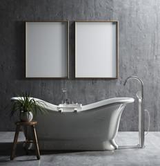 Mock-up poster frame in ethnic bathroom, 3d render