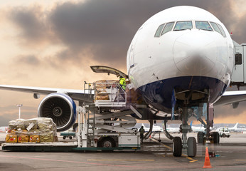 loading cargo into the aircraft before departure with nice sky Wall mural