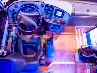 The seat of the bus driver. Work on the bus. Passenger Transportation. Bus management. Intercity passenger transportation.