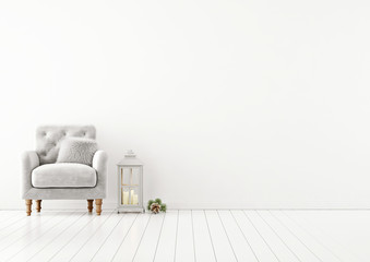 Livingroom interior wall mock up with grey tufted armchair, fur pillow and lantern on empty white background. 3D rendering.