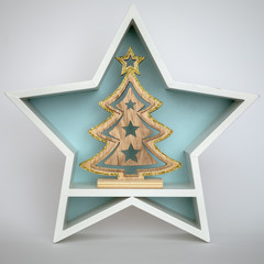Christmas decoration white star with fir tree inside