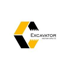 Excavator logo vector.