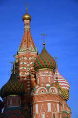 Saint Basils cathedral on the Red Square in Moscow. Blue sky background.