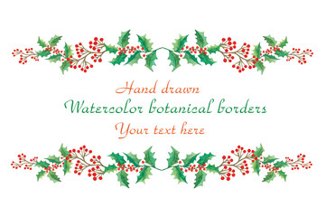 Watercolor decorative christmas botanical borders