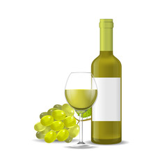 Realistic Detailed 3d Wine Bottle, Bunch Of Grapes and Wineglass. Vector