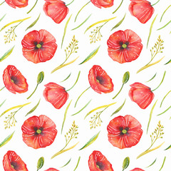 Flower pattern in watercolor style. Beautiful seamless pattern with poppies, cornflowers, camomiles and wild herbs. Can be used as a background template for wallpaper, printing on fabrics.