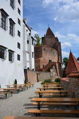 View of the fortress TRAUSNITZ in the historical town of LANDSHUT in Bavaria,  Germany
