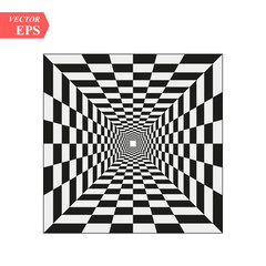A black and white relief tunnel. Optical illusion. Vector illustration. Black and white squares. eps10