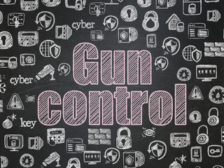 Safety concept: Chalk Pink text Gun Control on School board background with  Hand Drawn Security Icons, School Board