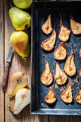 Homemade sun dried pears as a sweet snack