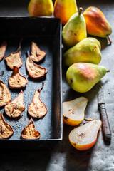 Tasty sun dried pears as a sweet snack