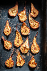 Enjoy your sun dried pears on old baking tray