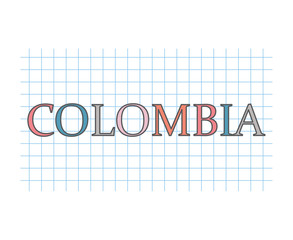 Colombia word on checkered paper texture- vector illustration