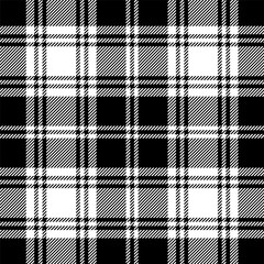 Seamless tartan black and white pattern