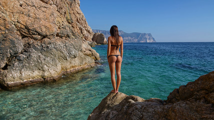 A shot of beautiful young woman's back in black bikini swimwear, outdoor stock footage