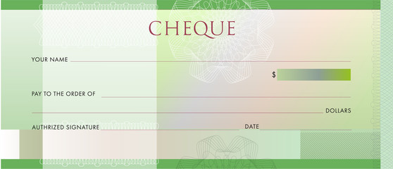Check template, Chequebook template. Blank green business bank cheque with guilloche pattern rosette and abstract watermark. Background for voucher, banknote design, , gift certificate, ticket, coupon