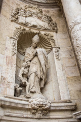 Valencia, Spain. Architecture detail of famous Cathedral statue of Saint Thomas of Vilanova.
