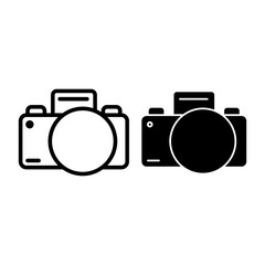 Photo camera line and glyph icon. Photography vector illustration isolated on white. Photographing outline style design, designed for web and app. Eps 10.